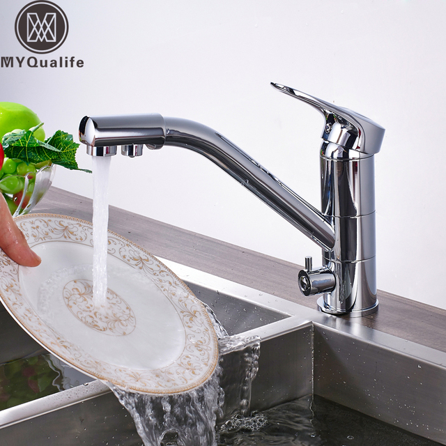 Chrome Dual Water Outlet Purification Kitchen Sink Faucet Deck