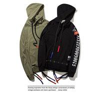 2017 Men Motorcycle Hoodies Army Green Biker Hoody Streetwear Pleated Design Hooded Sweatshirts Stand Collar Bottom
