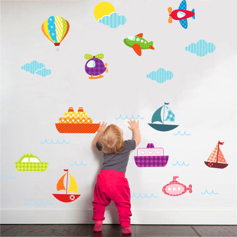 cartoon sky clouds aircraft boat wall stickers for kids rooms bedroom home decor pvc wall decals diy mural art childrens gift