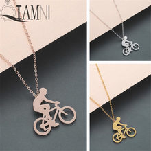 QIAMNI Bicycle Figure Bike Rider Pendant Necklace Birthday Gift Charm Sport Jewelry Cycling Men Necklace for Friendship Gift(China)