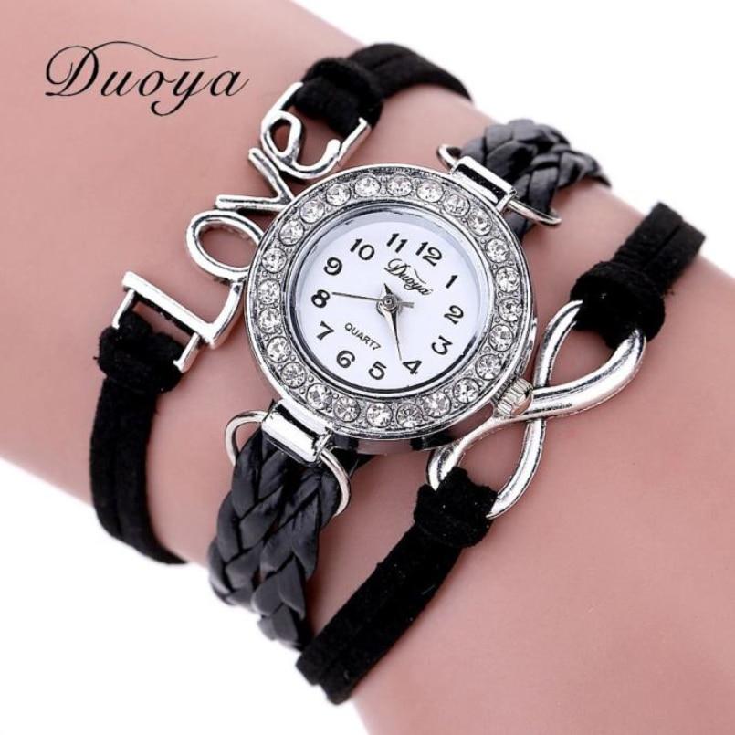 Excellent Quality Duoya Bracelet Watch Women Casual Quartz Watch Rhinestone Leather Ladies Dress Watches Fashion Wristwatch Gift