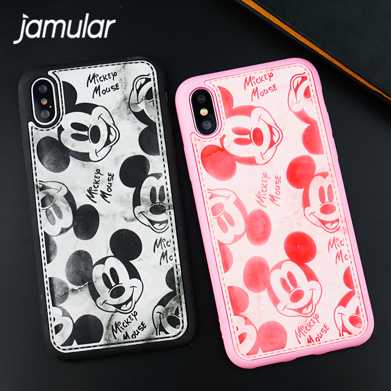 JAMULAR Luxury PU Leather Cute Mickey Mouse Case For iPhone 6 6s X 7 8 Plus Cartoon Back Cover For iphone 7plus Pink 3D Coque