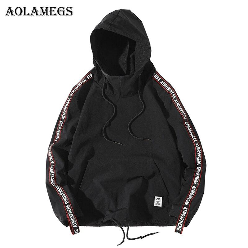Aolamegs Толстовки Для мужчин сбоку письмо лоскутное пуловер с капюшоном Высокое уличный стиль хип-хоп уличной О-образным вырезом с капюшоном в...