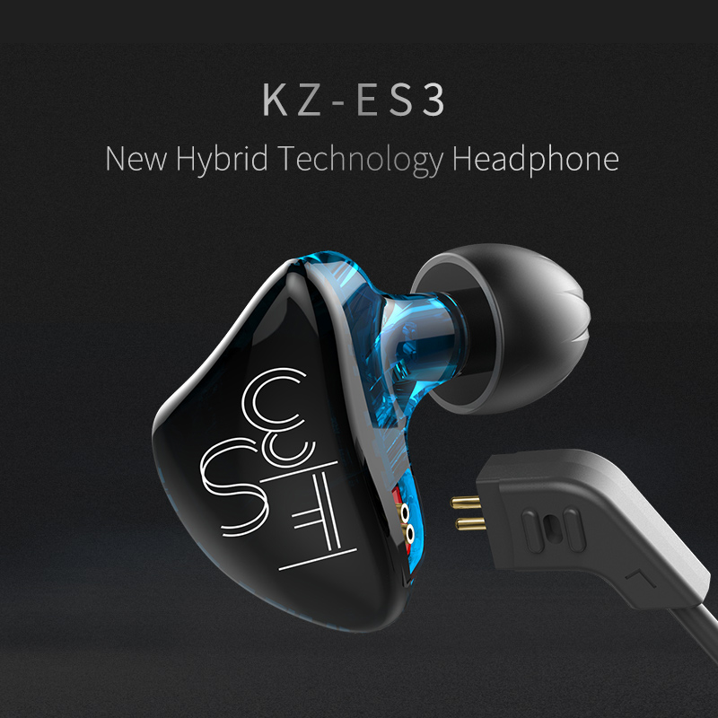 Original KZ ES3 In Ear Earphone Balanced Armature With Dynamic Dual Unit Driver Noise Cancelling Headset With Mic fone de ouvido