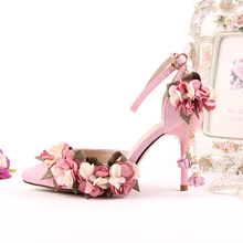 Korean Pink Satin Bride Shoes Women Wedding Shoes Lace High-heeled Shoes A Super Dress Shoes Sandals Wristband Pearl Flowers