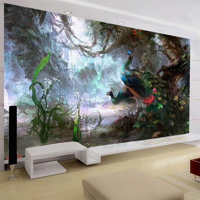 3D Natur Wallpaper Schöne Pfau Forest 3D Stereo Ölgemälde Wandmalerei  Wohnzimmer Einstellung Wand Landschaft Decor 3D