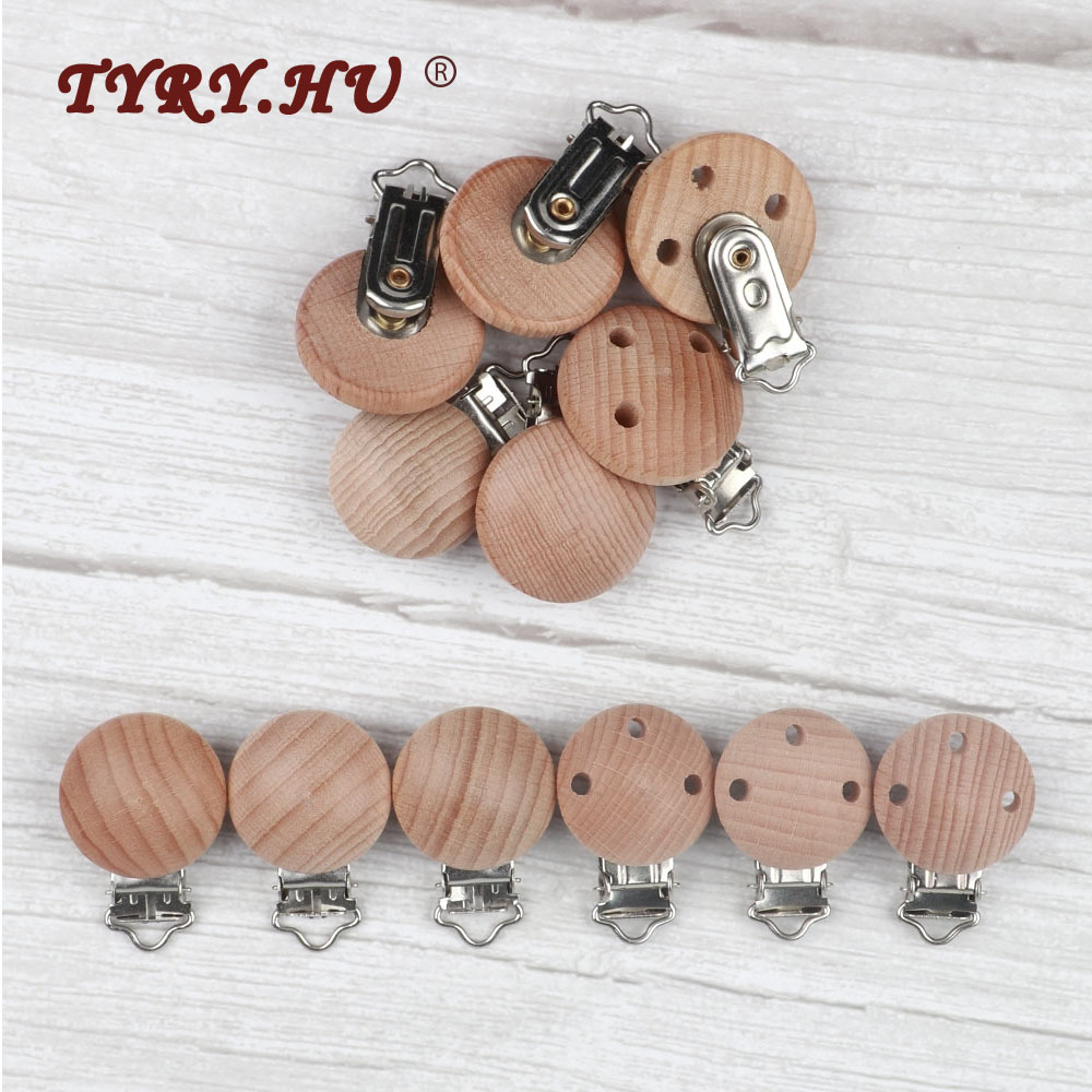 TYRY.HU 3pc Round Wooden Pacifier Clip BPA Free Baby Teething Necklace Clip Rodents DIY Pacifier Chain Accessories Free Shiping