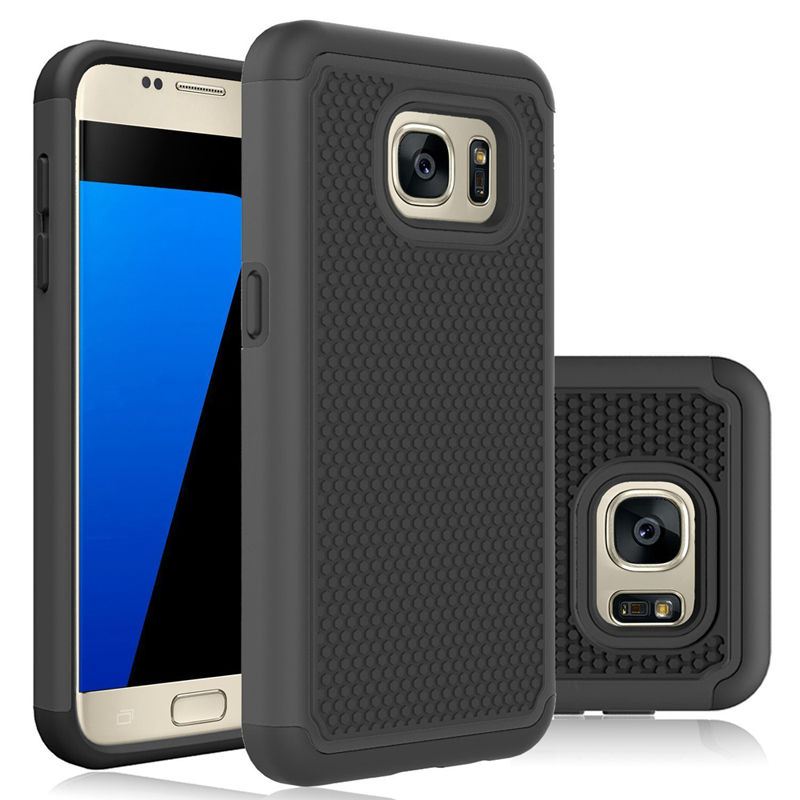 Rugged Rubber PC Case For Samsung Galaxy S7 Edge Heavy Duty Slim Soft Silicone Hard PC Back Protection Cover For S7 Edge Cases