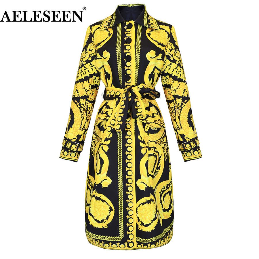 AELESEEN 2018 Autumn Runway Women Long Trench Coat Yellow Floral Printed Belt Turn Down Collar Vintage Long Sleeve Trench Winter