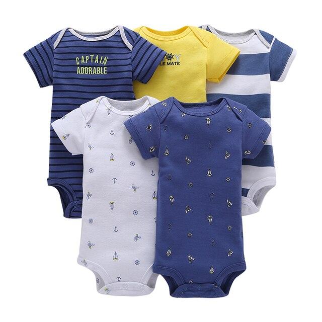 Bé bodysuit đặt cậu bé sơ sinh cô gái quần áo ngắn tay áo sọc bodysuits 2019 trang phục mùa hè 5 cái/bộ phù hợp với cơ thể quần áo cotton
