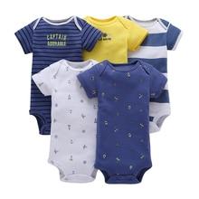 Conjunto bodysuit bebê recém nascido menino menina roupas de manga curta listra bodysuits 2020 verão traje 5 pçs/set corpo terno roupas algodão
