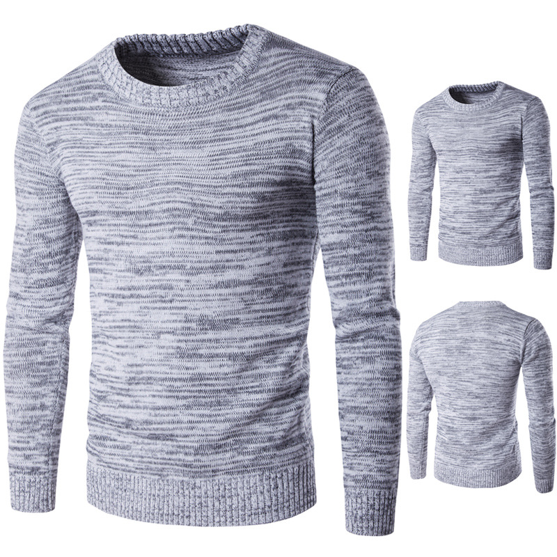 Mens Striped Knitted Jumper Sweater Pullover Crew Neck Top Fashion Winter New