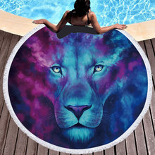 King Lion Beach Towel Women Round Microfiber Printed Animal Large Bath Wall Tapestry Swimming Blanke Mat for Adults
