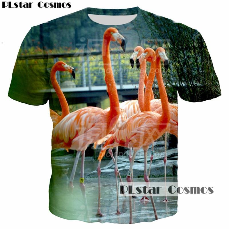 PLstar Cosmos t-shirt men/women short sleeve tshirt 3D t shirt homme casual tees lovers summer t-shirts Flamingo print tops