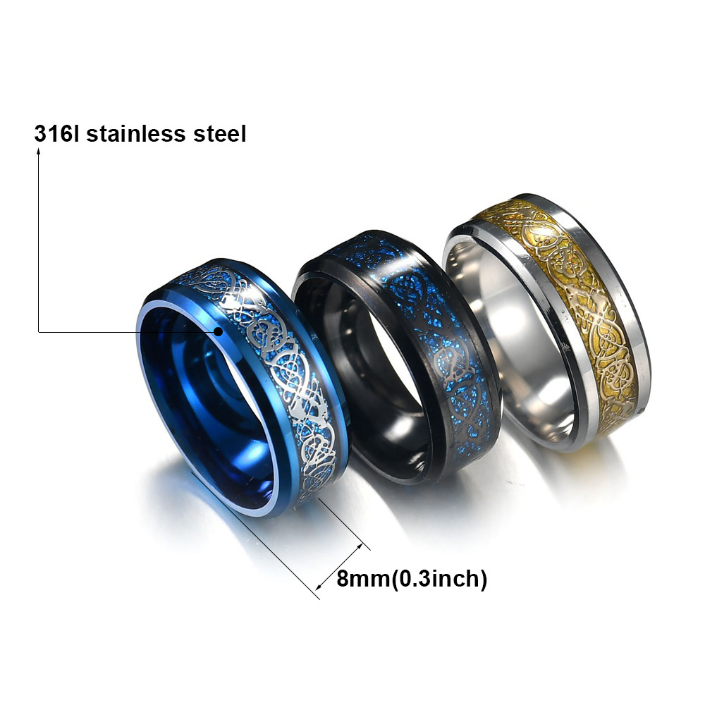 MeMolissa Jewelry New Punk ring for lover Vintage engagement Dragon steel Ring for Men & women Wedding rings 1