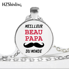 NS--706 High Quality I Love PAPA Glass Pendant Necklace Je Suis un Super PAPA Glass Dome Cabochon Necklace for papa Jewelry HZ1(China)