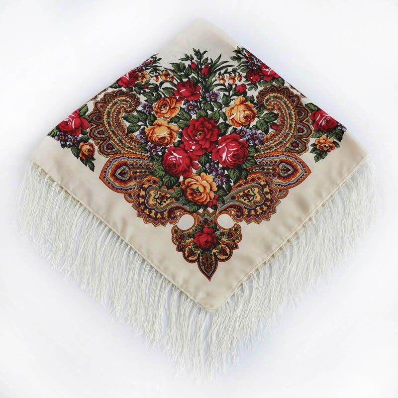 90x90cm New Russia National Style Women Floral Four Sides Tassel Squar Shawl Scarf All-Match Headband Bandage Bufanda Headcloth