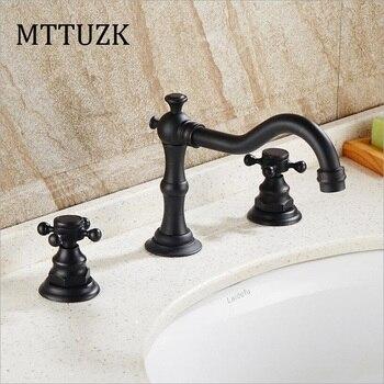Vidric Antique Copper black bathroom faucet  for hot and cold Mixer tap Sink faucet  Double handle 3 hole bathroom basin faucet