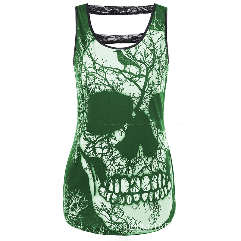 <font><b>3D</b></font> Skull Print <font><b>T</b></font>-<font><b>shirt</b></font> Women Hip Hop Sleeveless <font><b>T</b></font>-<font><b>shirt</b></font> Loose Cool Top Tee <font><b>Shirt</b></font> <font><b>Sexy</b></font> <font><b>T</b></font> <font><b>Shirts</b></font> Cosplay Female Clothing image