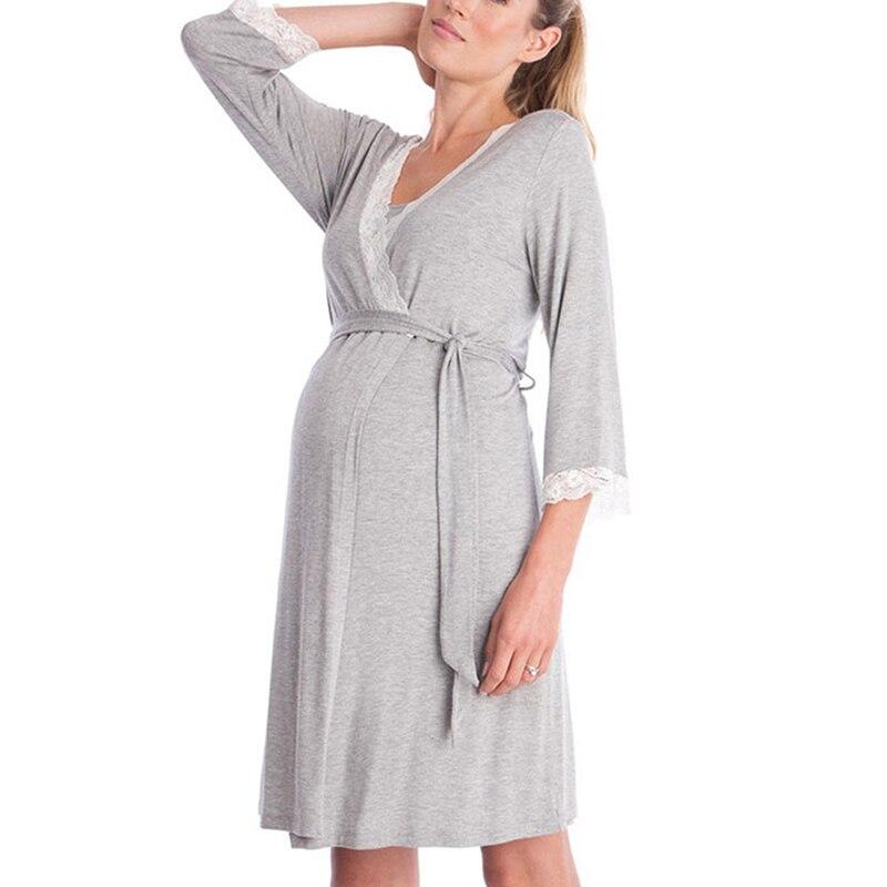 Women Pregnant Comfortable Nightdress Maternity Sleepwear Feeding Chemise Sleeping Robe Dress Big Size Nightgown Sleepwear