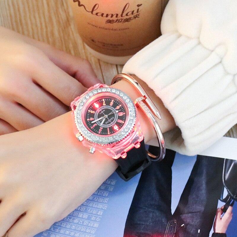 2017 Geneva Rhinestones Luminous Glowing LED Sport Watches Women Quartz Watch Ladies Women Silicone Wristwatches Relojes Mujer