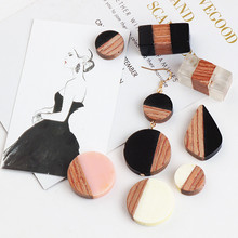 Ritoule DIY handmade jewelry accessories and resin wood round earrings geometric Rectangular Pendant material
