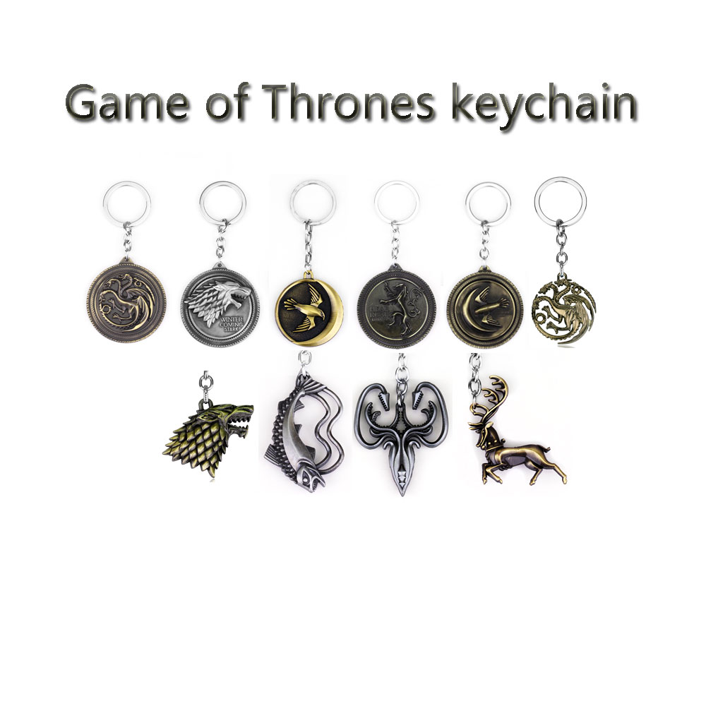 цены 14 Styles Game of Thrones Keychain A Song of Ice and Fire Dragon Key Chain House Stark Targaryen Wolf Keyring Men Jewelry