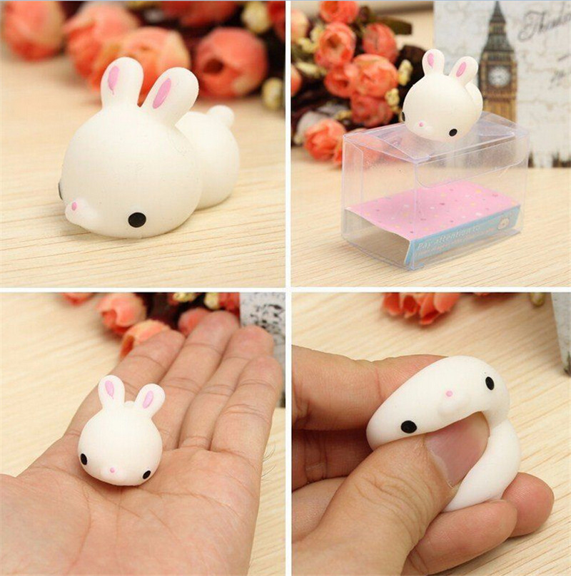 JINHF 1pcs  Cute Bunny Rabbit Squishy Slow Rising Mobile Phone Charms StrapsSqueeze Healing Stress Reliever Toy Gift Decor