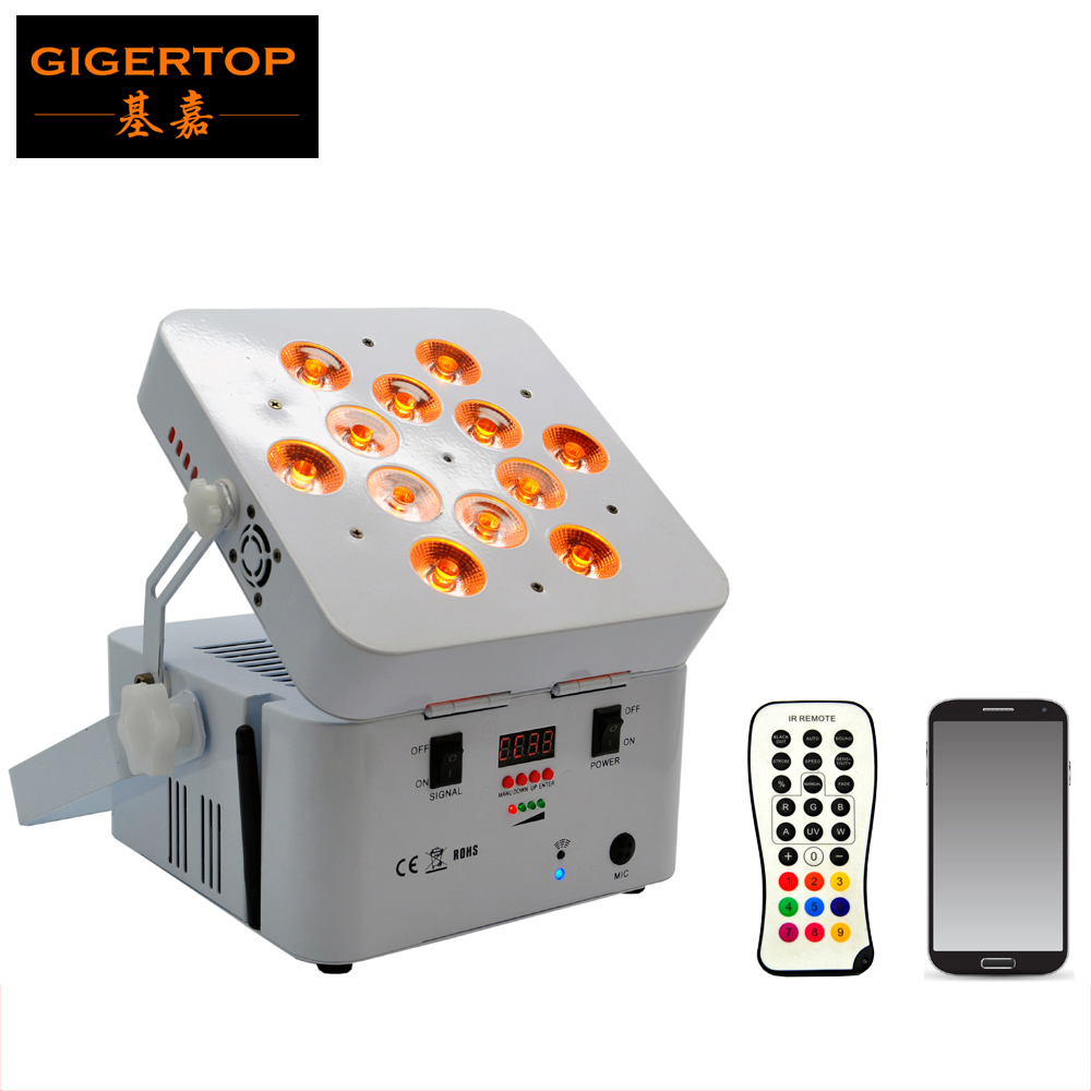 Guangzhou TIPTOP TP-G3038-6IN1 12*18W RGBWA UV 6IN1 DJ Light Rechargable Battery Powered Wireless DMX Flat DMX LED Uplighting