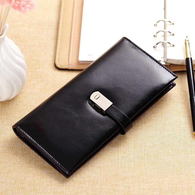 ФОТО Fashion Oil Wax Leather Purse Women's Genuine Leather Long Luxury Women Wallets Famous Brand Ladies Clutch Card Holder Purses