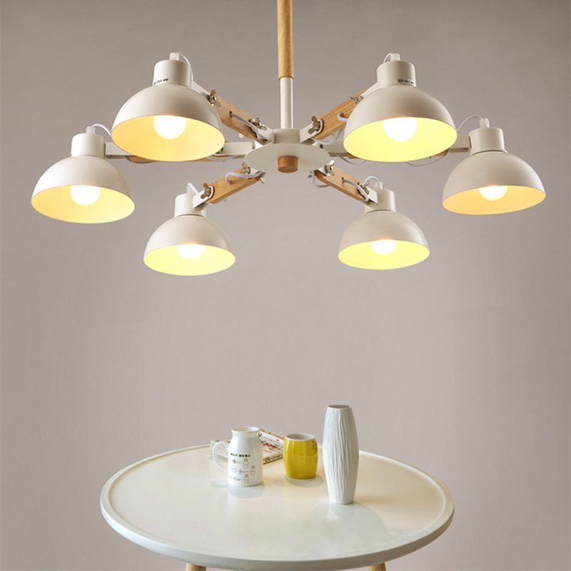 Nordic creative extension rubber wood E27 LED ceiling chandelier for kitchen living room bedroom study entrance restaurant hotel in Pendant Lights from Lights Lighting