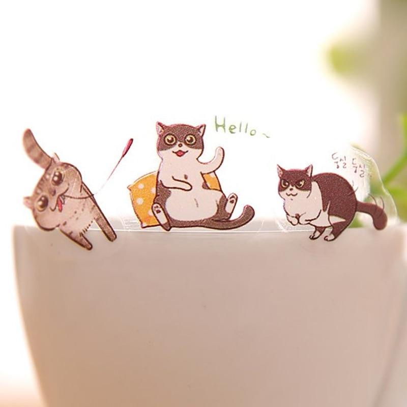 6 ks / lot roztomilý kočka PVC samolepka diy plánovač - Bloky a záznamní knihy - Fotografie 3