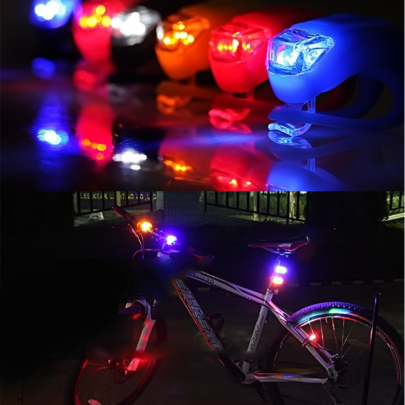 50pcs/lot Waterproof Silicone Light 4 Colors LED Bike Light Head Front Rear Wheel Bicycle Light Cycling Warning Taillamp