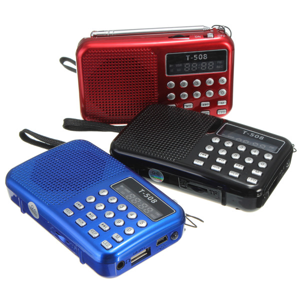 Mini Portable Dual Band Uppladdningsbart Digital LED-displaypanel Stereo FM Radio Högtalare USB TF Mirco för SD-kort MP3 Music Player