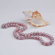 "Natural AAA+ 7-8mm Purple Pearl necklace With Rose clasp 18"" Long"