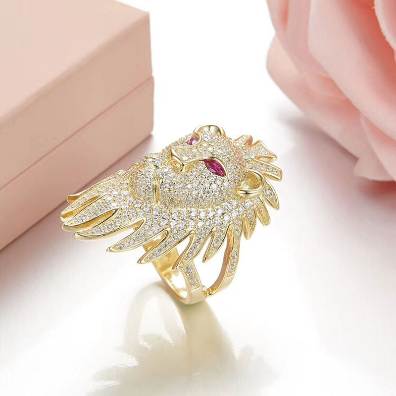 SLJELY Luxury 925 Sterling Silver Micro Cubic Zircon Yellow Gold Color Lion Head Finger Ring Monaco