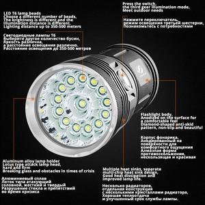 Image 2 - مصباح ليد جيب قوي مع 18 x T6 LED خرزة مصباح كاشف مقاوم للماء مجموعة واسعة استخدام 4x18650 بطارية الإضاءة