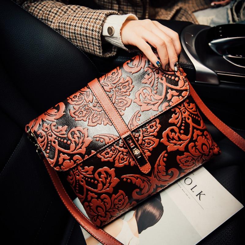 2016 New women vintage embossing messenger bag bolsa feminina high quality leather shoulder bag lady clutch