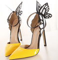 European New Fashion Women Sexy 11cm High Heels Ankle Strap Sandals Colorful Butterfly Heeled Party Shoes Woman Dress Pumps