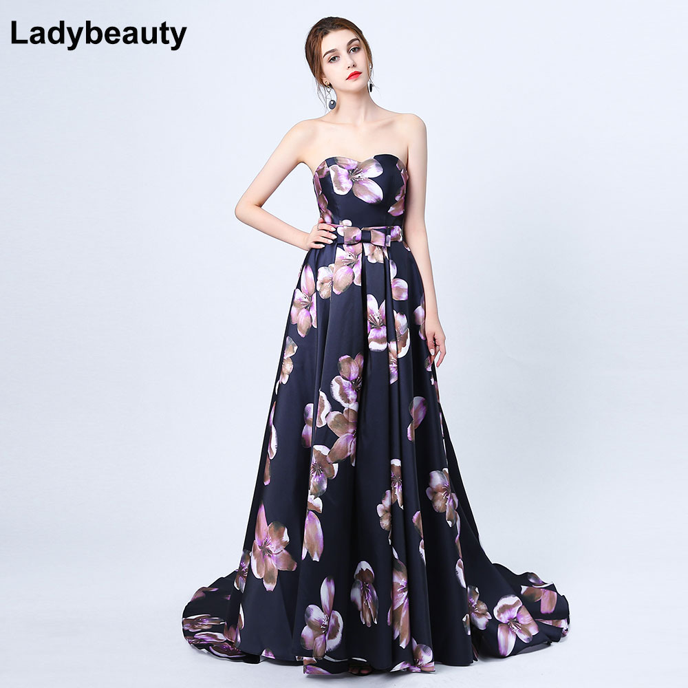 2019 Sexy Sweetheart Printing Flower Black Satin Evening Dress The Bride Banquet Court Train Long Prom