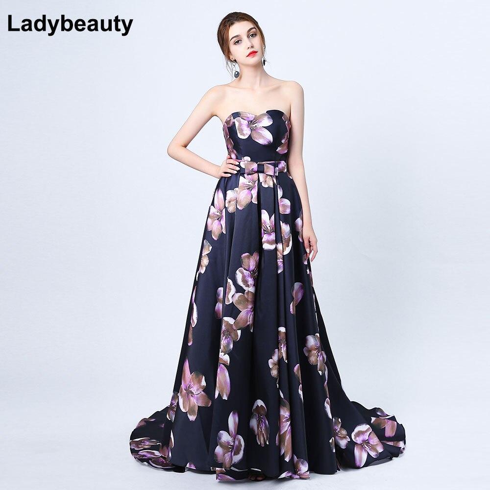 2019 Sexy chérie impression fleur noir Satin robe de soirée la mariée Banquet Court Train Long bal robes de soirée