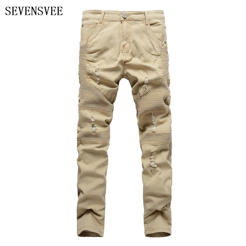 ФОТО New 2017 Mens Khaki Kanye West Hole Ripped Biker Jeans For Men Stretch Slim Fit Folds Straight Designer Justin Bieber Jeans