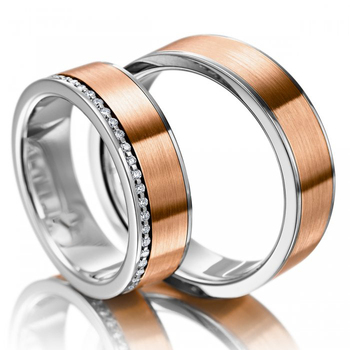 Satin Solid 18ct18k Rose Gold Diamond Couple's Set
