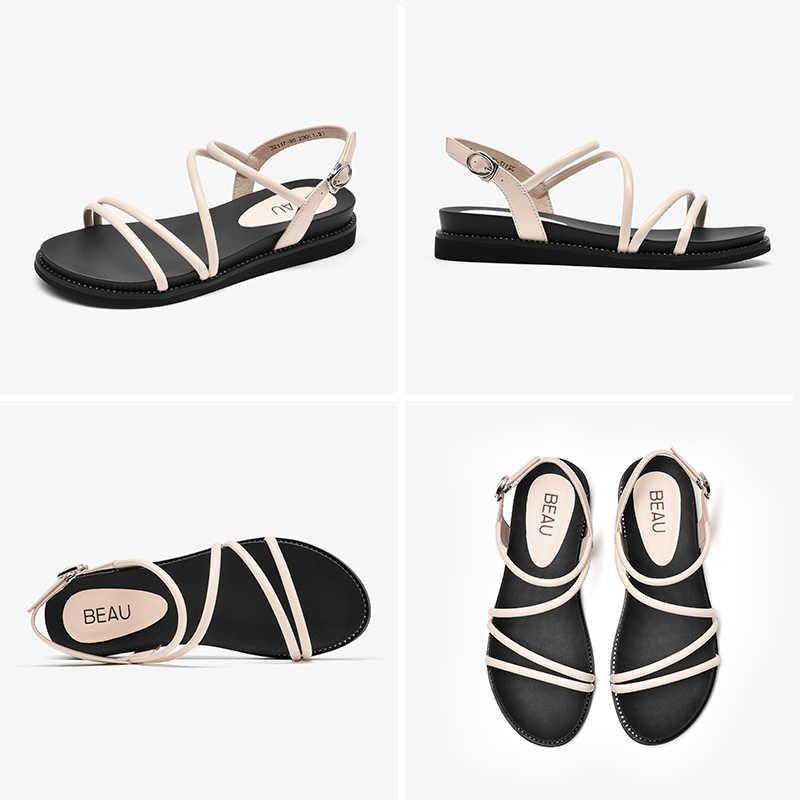 BeauToday sandały na platformie kobiety kożuch prawdziwej skóry Gladiator Slingback kryształ szczegóły pani letnie buty na obcasie z platformą 32117