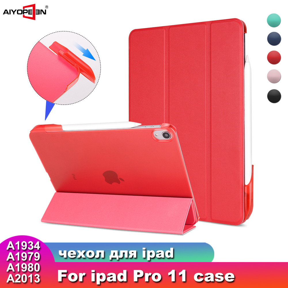For iPad Pro 11 2018 Case with Pencil Holder Aiyopeen PU Leather Transparent PC Back Cover for iPad Pro 11 2018 Case in Tablets e Books Case from Computer Office