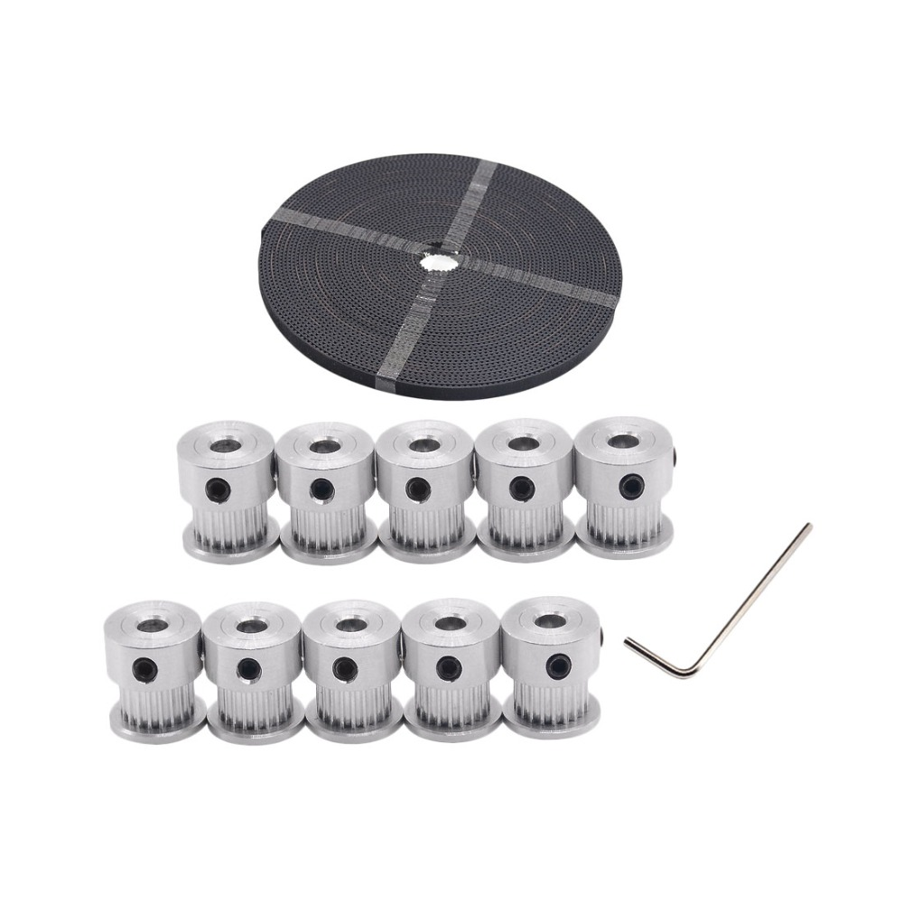 Free shipping 10pcs 20teeth GT2 Timing Pulley Bore 5mm + 10M High quality GT2 timing Belt for 3D printer 1set 10pcs 20teeth gt2 timing pulley bore 5mm 10m 33ft 2gt gt2 timing belt 6mm wide for 3d printer cnc reprap free shipping