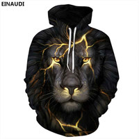 New Sale Animal Style 3d Sweatshirts Men Women Pullovers Gold Lion Hoodies Jellyfish 3d Sunglasses Cat