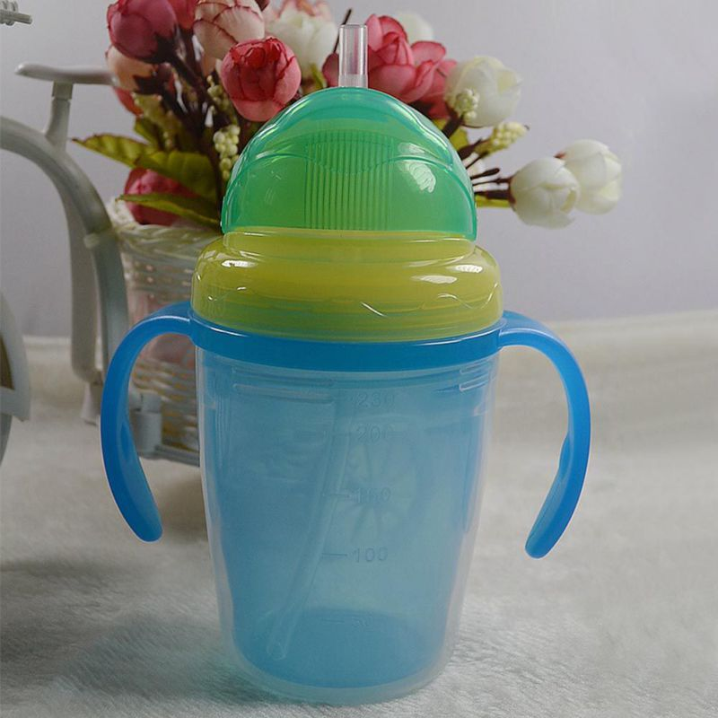 230ml Baby Kids Cute Bottles Cup Children Straw Water Bottles Double-insulated Learn Feeding Drinking Handle Silicone Baby Cup