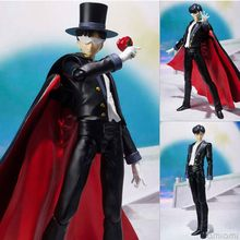 16 cm Japonês Figuras Anime Figuarts SHF Máscara Sailor Moon Tuxedo Mamoru Chiba 20th PVC Action Figure Toy Modelo para presentes dos miúdos(China)