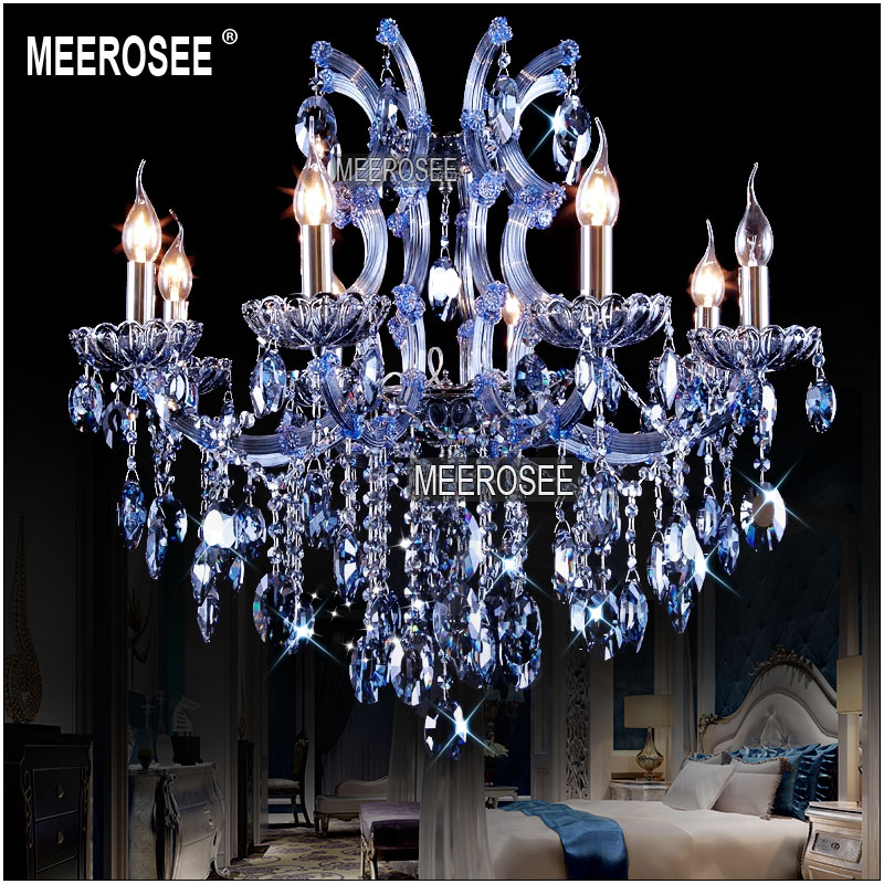 8 Lights Blue Crystal Chandelier Light Fixture Maria Theresa Candle Cristal Re Lamp For Hotel Restaurant Living Room Md841 In Chandeliers From